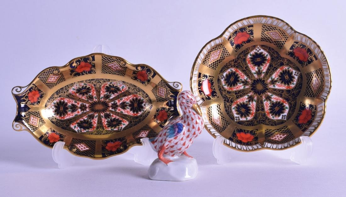 TWO CROWN DERBY IMARI DISHES together with a Herend