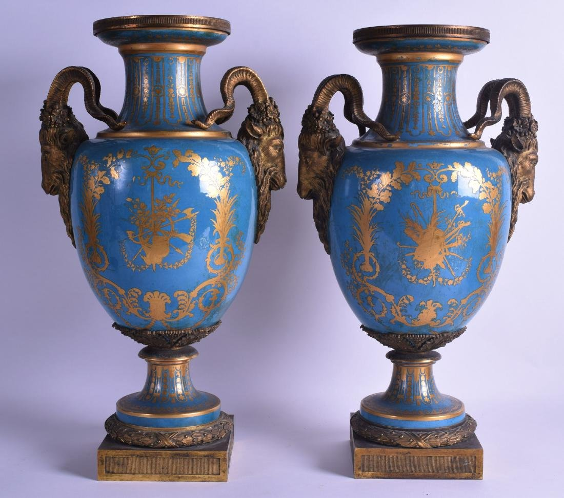 A FINE PAIR OF 19TH CENTURY SEVRES PORCELAIN VASES with