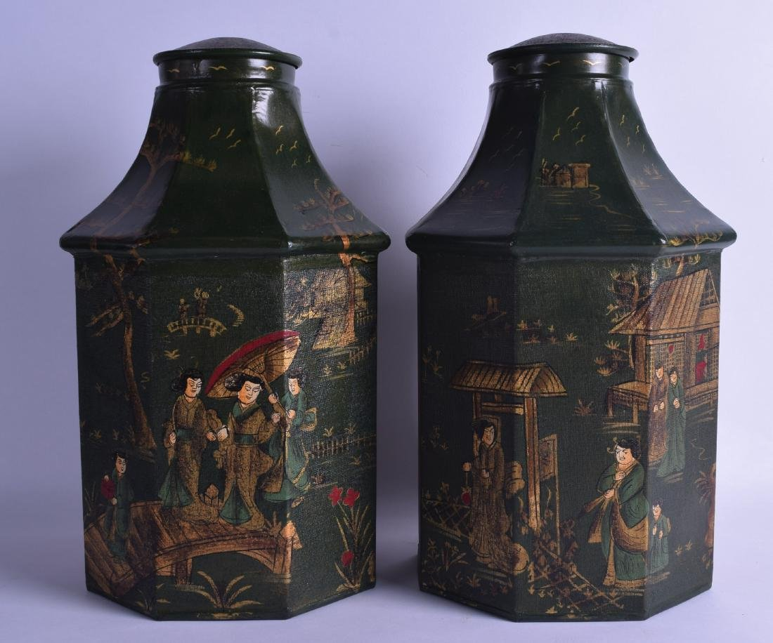 A PAIR OF GEORGE III STYLE LACQUERED TIN TEA CANISTERS
