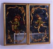 A PAIR OF VINTAGE VENETIAN GILT MIRRORS decorated with