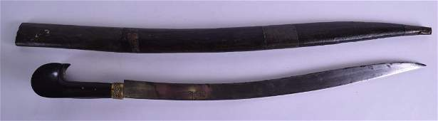 A TURKISH OTTOMAN YATAGAN SWORD with brass inlaid wood