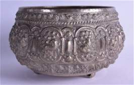 A 19TH CENTURY SOUTH EAST ASIAN WHITE METAL BOWL