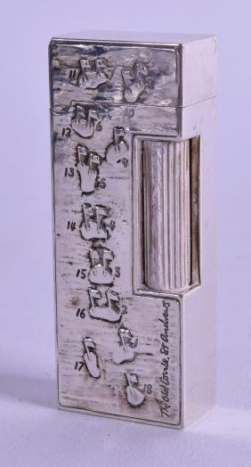 A Rare Dunhill Silver Golf Lighter By Harold Riley.