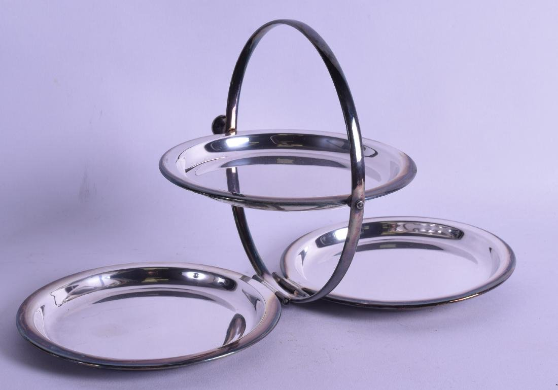 AN UNUSUAL ANTIQUE SILVER PLATED FOLDING THREE TIER