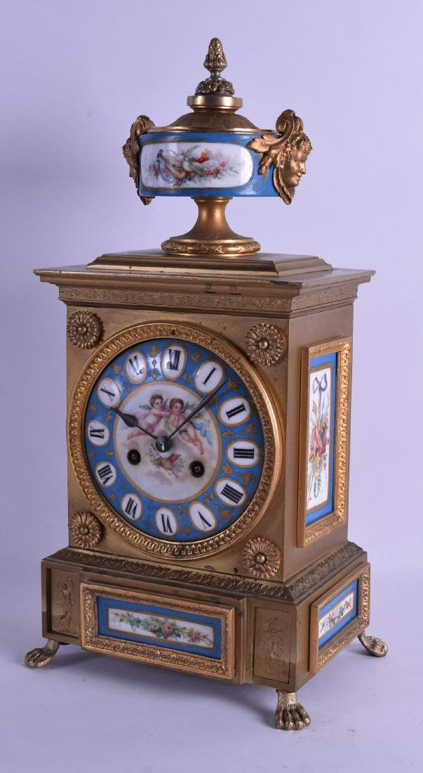 A GOOD 19TH CENTURY FRENCH BRONZE MANTEL CLOCK inset