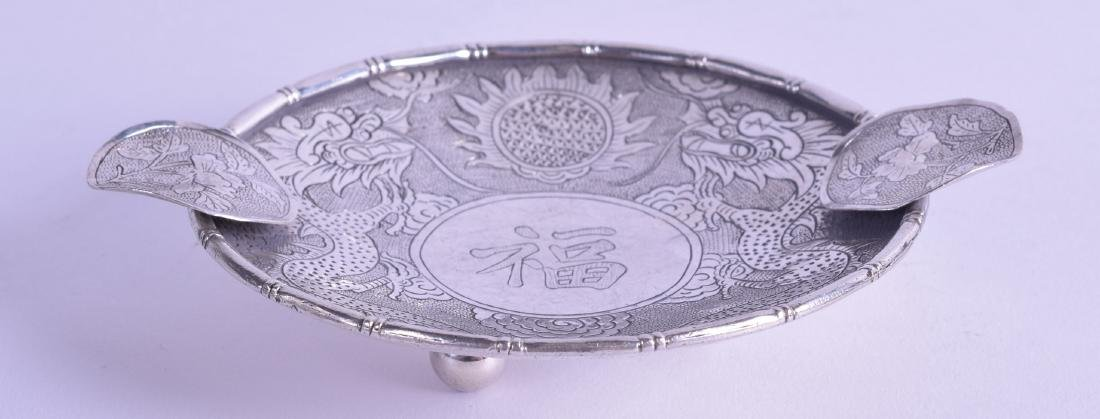 A LATE 19TH CENTURY CHINESE EXPORT SILVER DRAGON DISH