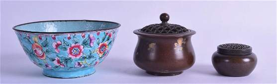 AN EARLY 20TH CENTURY CHINESE CANTON ENAMEL BOWL
