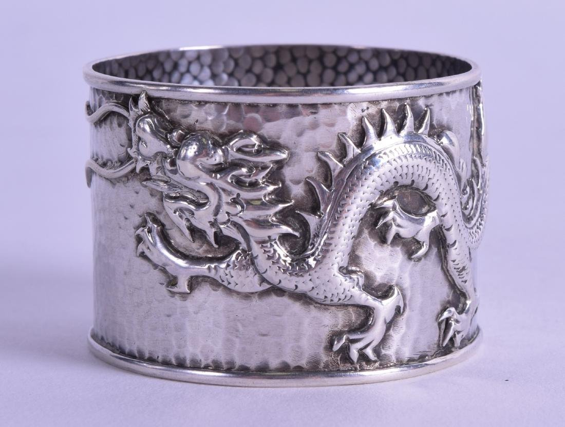 A LATE 19TH CENTURY CHINESE EXPORT HAMMERED SILVER