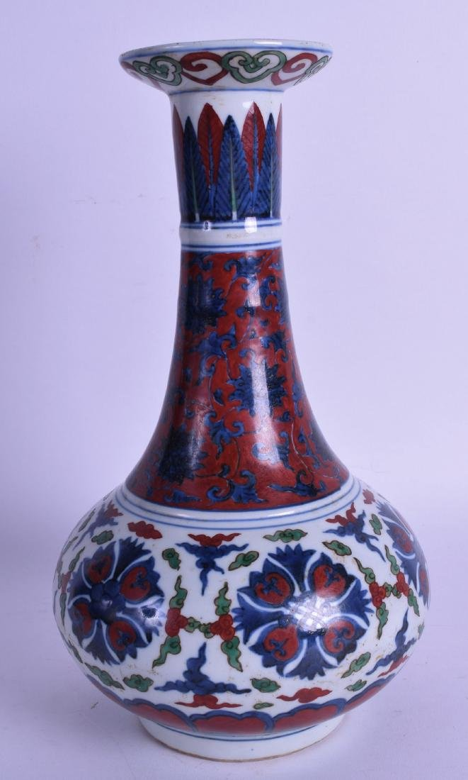 A CHINESE QING DYNASTY BALUSTER PORCELAIN VASE bearing