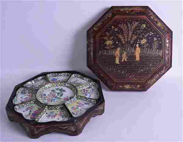 A 19TH CENTURY CHINESE LACQUERED CANTON ENAMEL