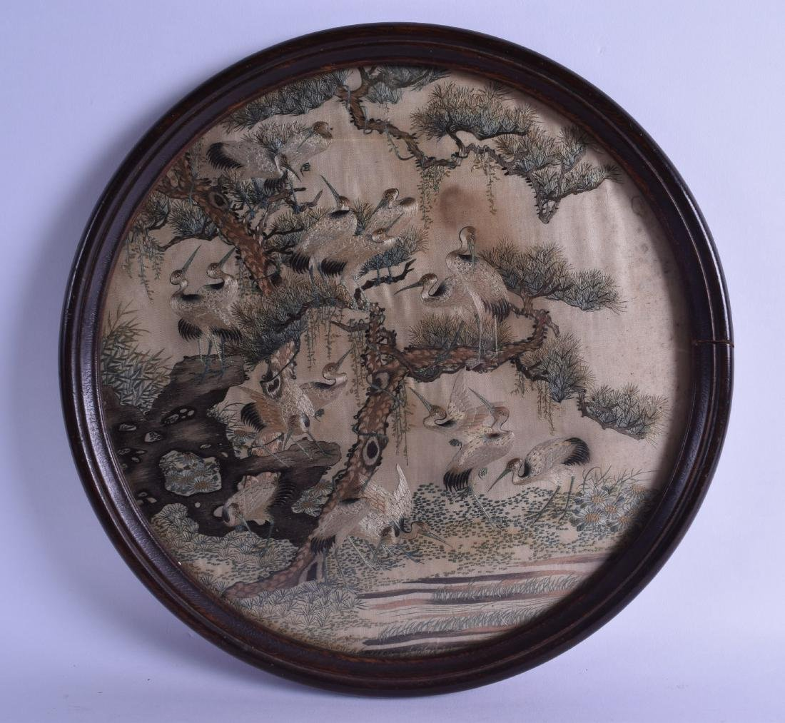 A GOOD 19TH CENTURY CHINESE FRAMED SILKWORK PANEL