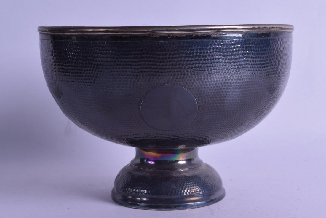 A LATE 19TH CENTURY CHINESE EXPORT HAMMERED SILVER BOWL