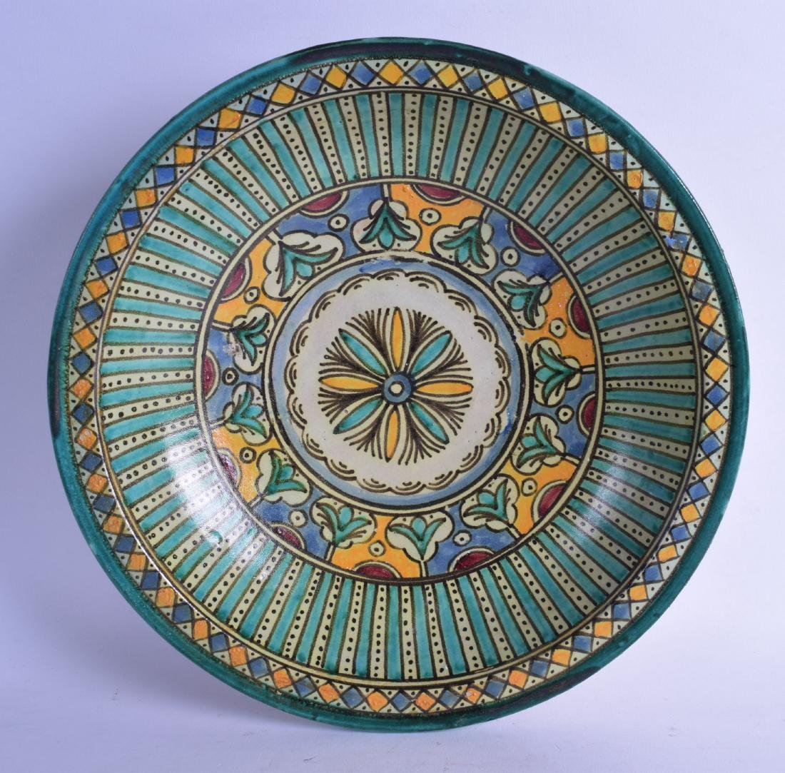 A MIDDLE EASTERN FAIENCE MAJOLICA TYPE CIRCULAR POTTERY