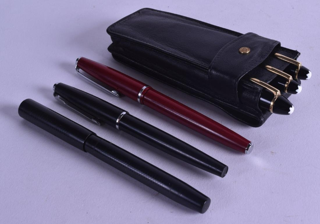 A CASED SET OF THREE MONTBLANC MEISTERSTUCK 14CT GOLD