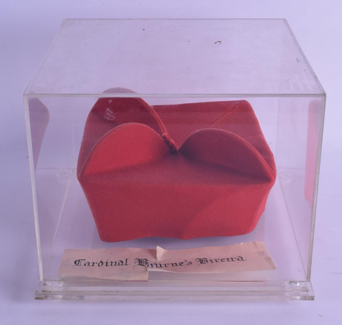 A VERY RARE CASED BIRETTA belonging to Cardinal Bourne.