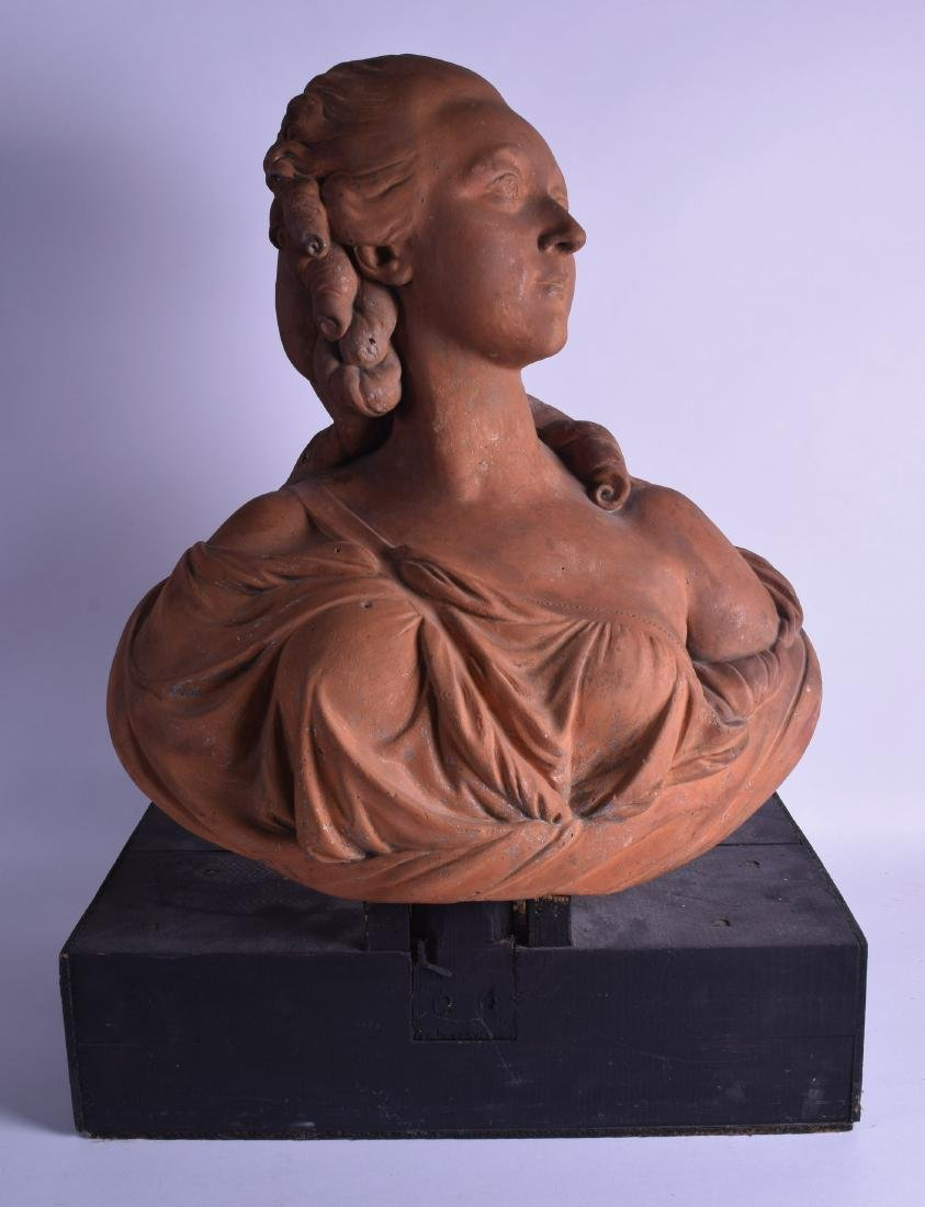A FINE 18TH/19TH CENTURY FRENCH TERRACOTTA BUST OF