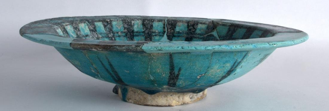 A Persian 12th Century Blue Bowl, Kashan, painted with - 2