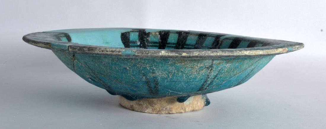 A Persian 12th Century Blue Bowl, Kashan, painted with - 3