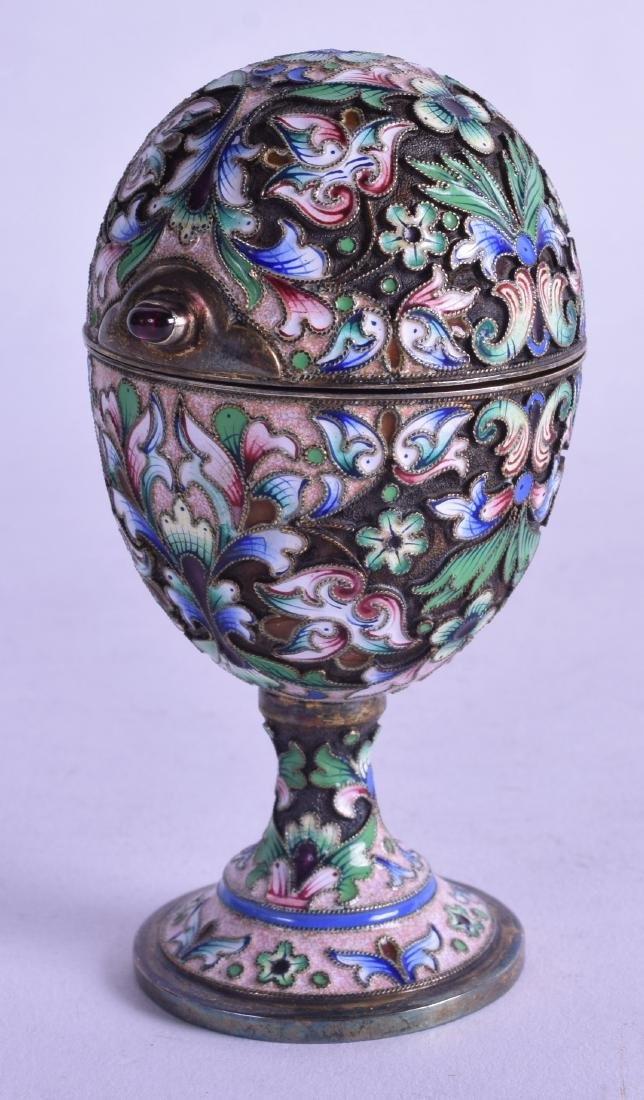A GOOD RUSSIAN SILVER GILT AND ENAMEL EGG CUP AND COVER