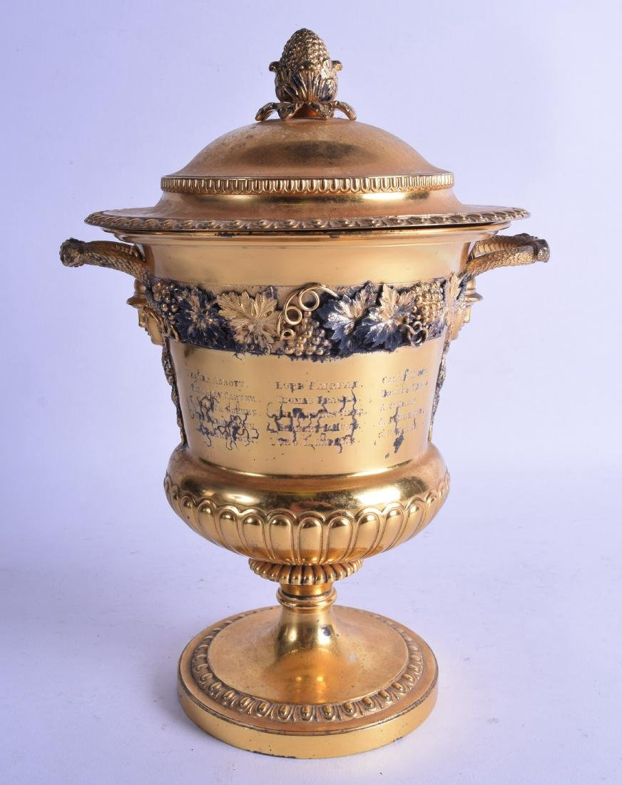 A GOOD EDWARDIAN SILVER GILT TWIN HANDLED VASE AND