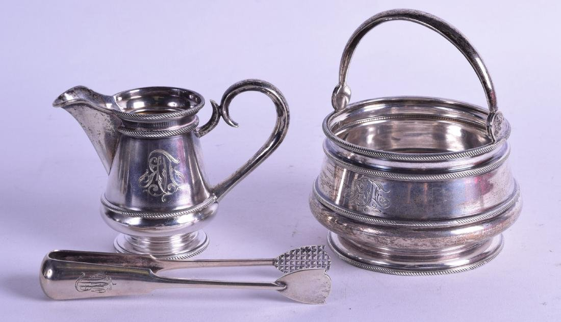 A LATE 19TH CENTURY RUSSIAN SILVER SWING HANDLED SUGAR