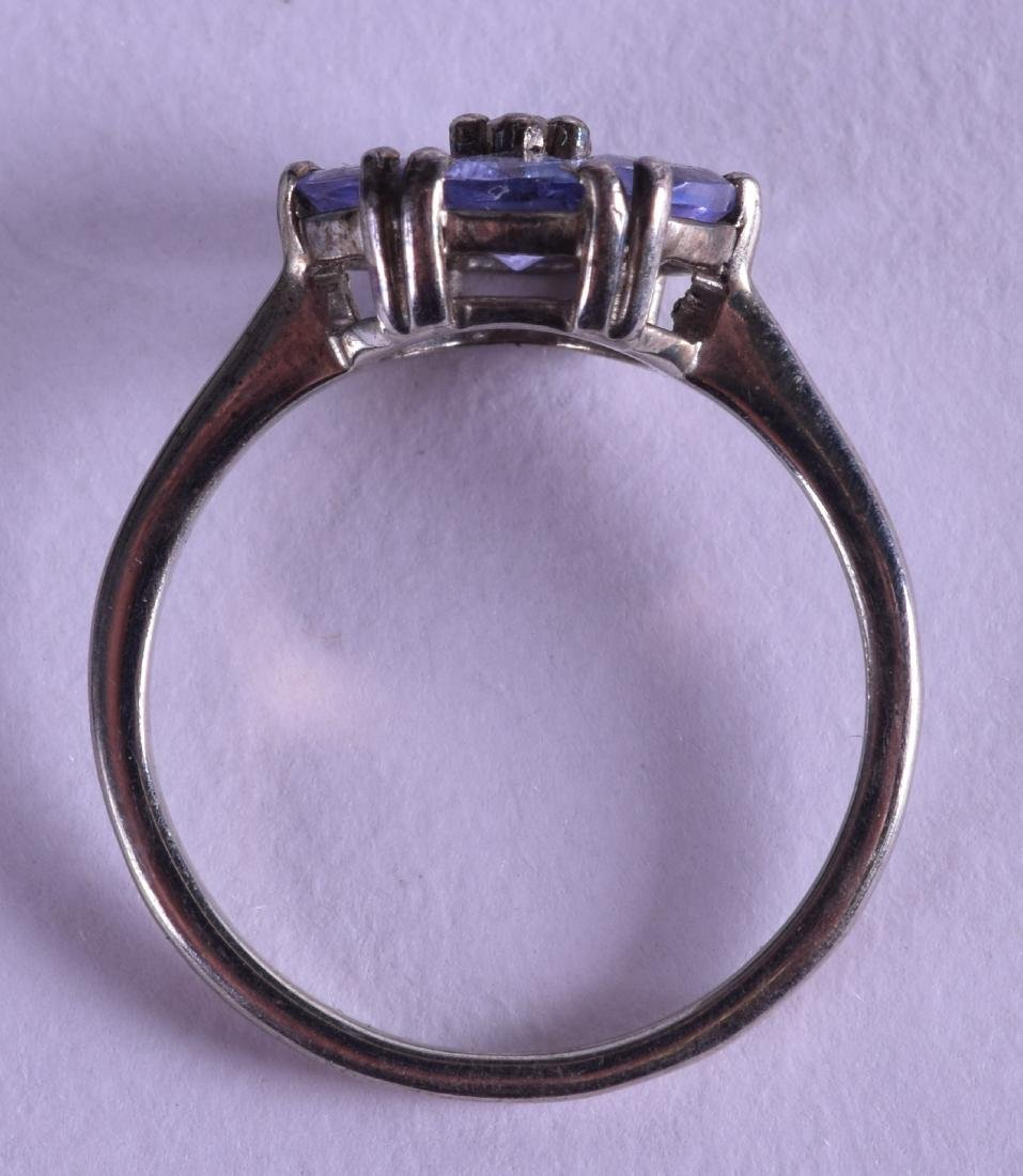 A SILVER AND TANZANITE FANCY RING. - 2