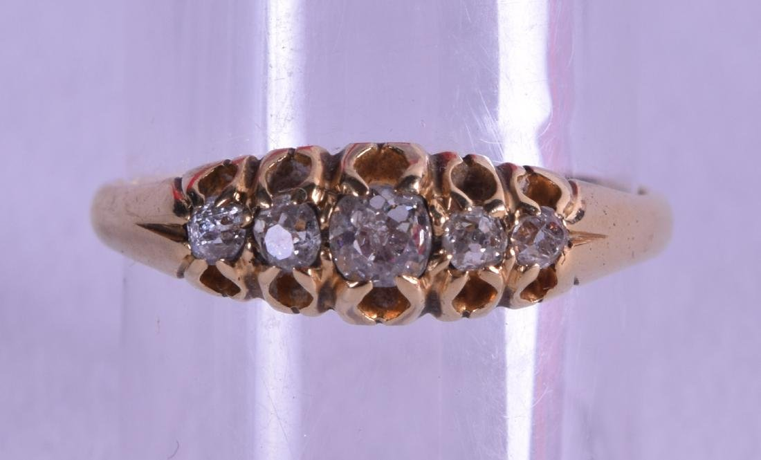 A VICTORIAN 18CT GOLD AND FIVE STONE DIAMOND RING.