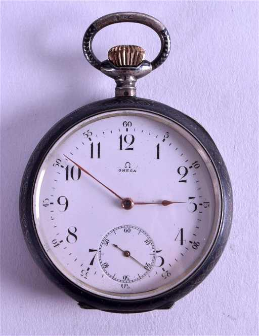 A RARE ANTIQUE SILVER NIELLO WORK OMEGA POCKET WATCH 026f8d0458