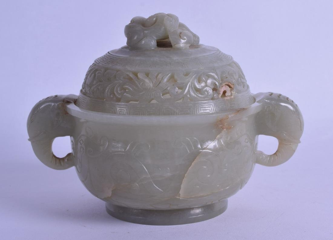 A GOOD 18TH CENTURY CHINESE TWIN HANDLED JADE CENSER - 2