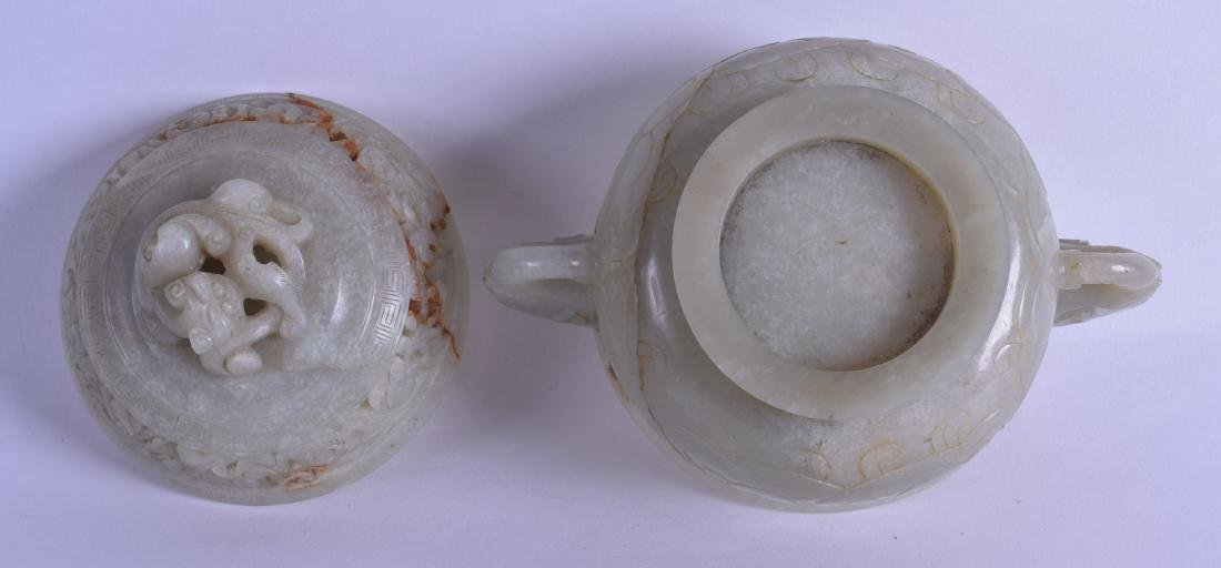 A GOOD 18TH CENTURY CHINESE TWIN HANDLED JADE CENSER - 3