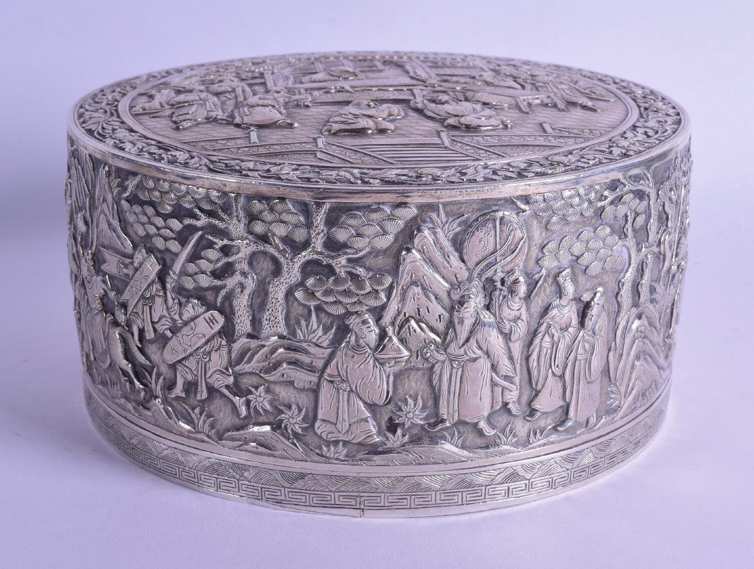 A SUPERB LARGE 19TH CENTURY CHINESE EXPORT SILVER BOX