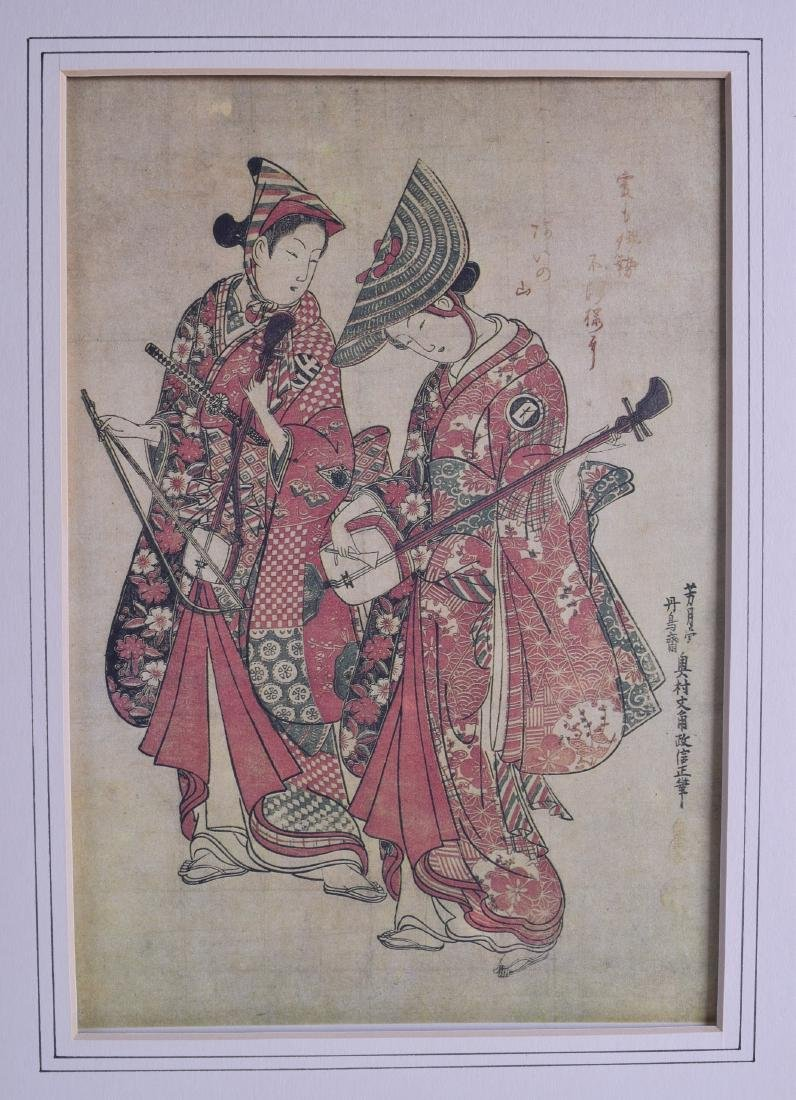 A GROUP OF THREE JAPANESE WOOD BLOCK STYLE PRINTS 20th