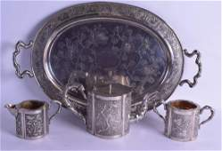 A FINE LATE 19TH CENTURY CHINESE EXPORT SILVER TEASET