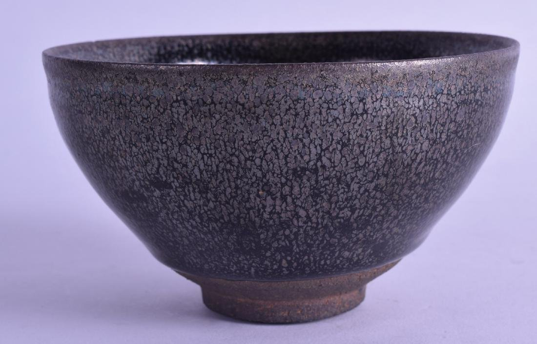 A CHINESE HARES FOOT TYPE STONEWARE BOWL with - 2