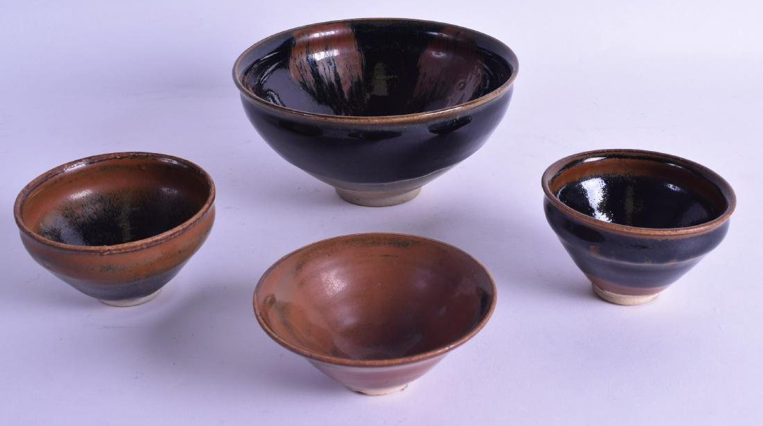 FOUR CHINESE HARES FOOT STYLE STONEWARE BOWLS in