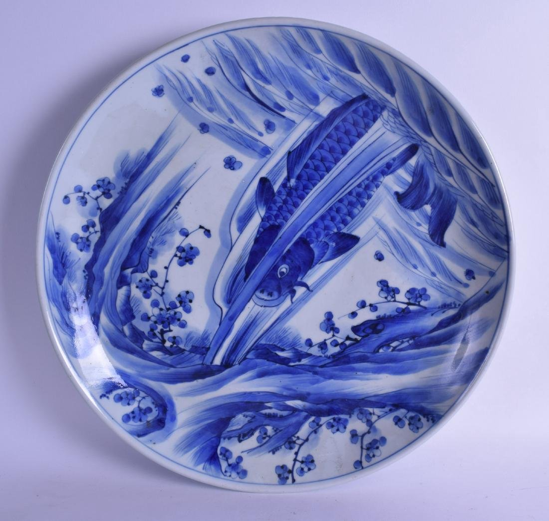 A LARGE 19TH CENTURY JAPANESE MEIJI PERIOD BLUE AND
