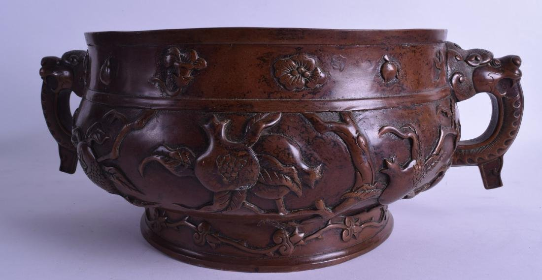 A VERY LARGE CHINESE TWIN HANDLED BRONZE CENSER - 2