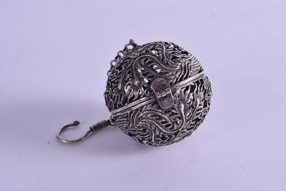 A CHINESE WHITE METAL TRAVELLING OPENWORK CENSER - 2