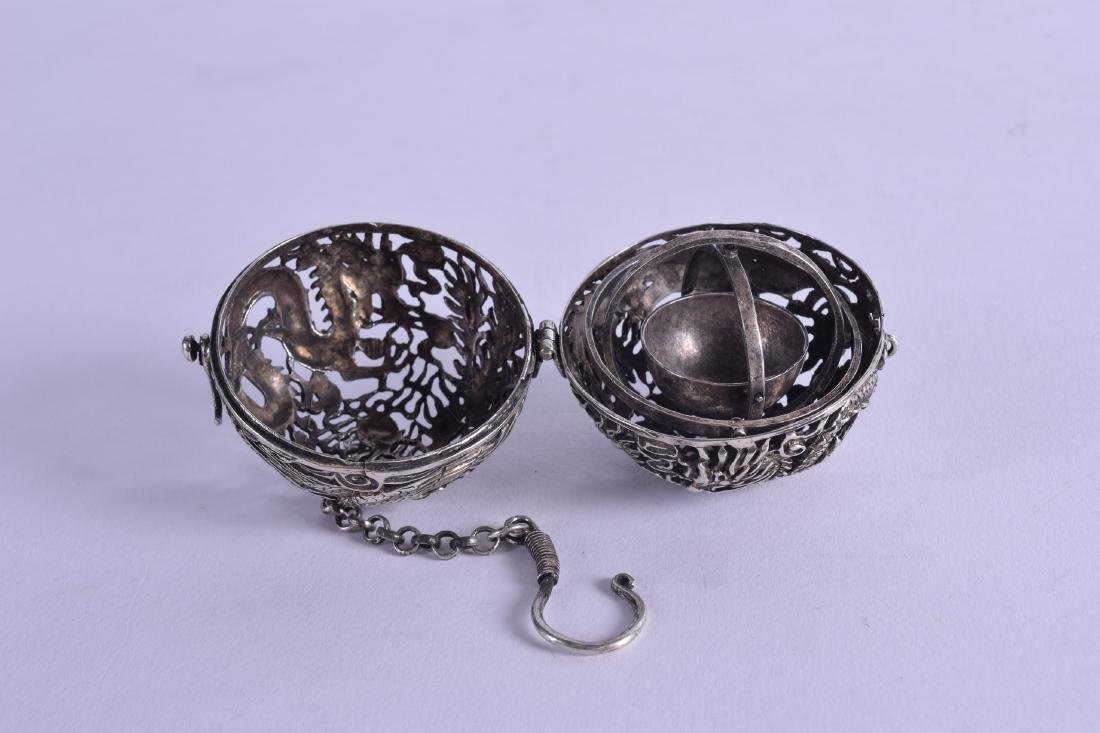 A CHINESE WHITE METAL TRAVELLING OPENWORK CENSER - 3