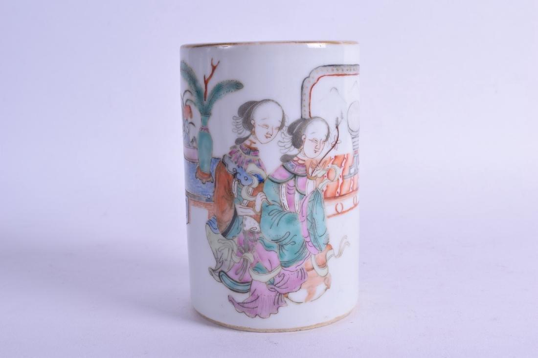 A CHINESE REPUBLICAN PERIOD FAMILLE ROSE BRUSH POT