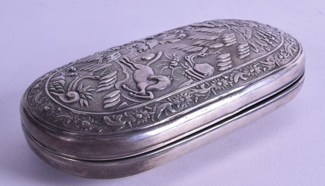A RARE LATE 19TH CENTURY CHINESE EXPORT OVAL SILVER BOX