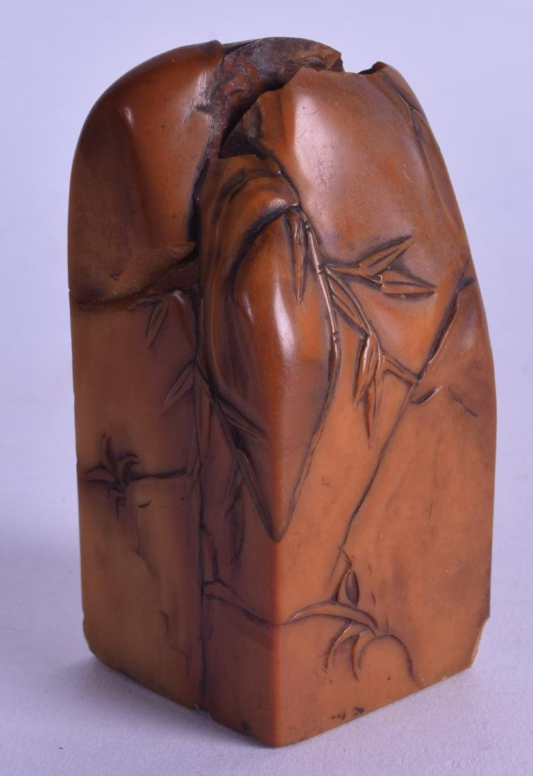 AN 18TH CENTURY CHINESE CARVED AMBER SOAPSTONE SEAL