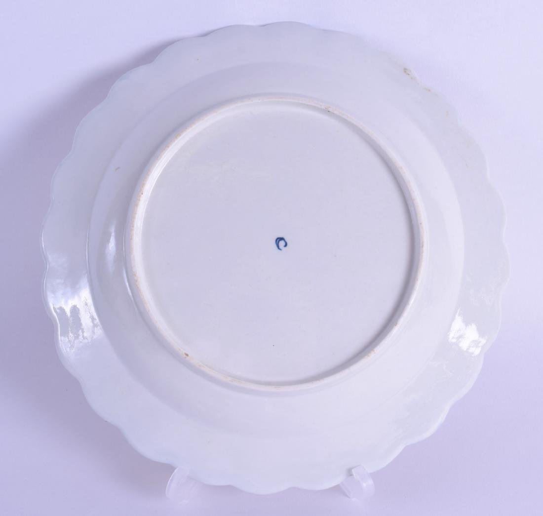 18th c. Worcester plate of fluted shape painted with - 2