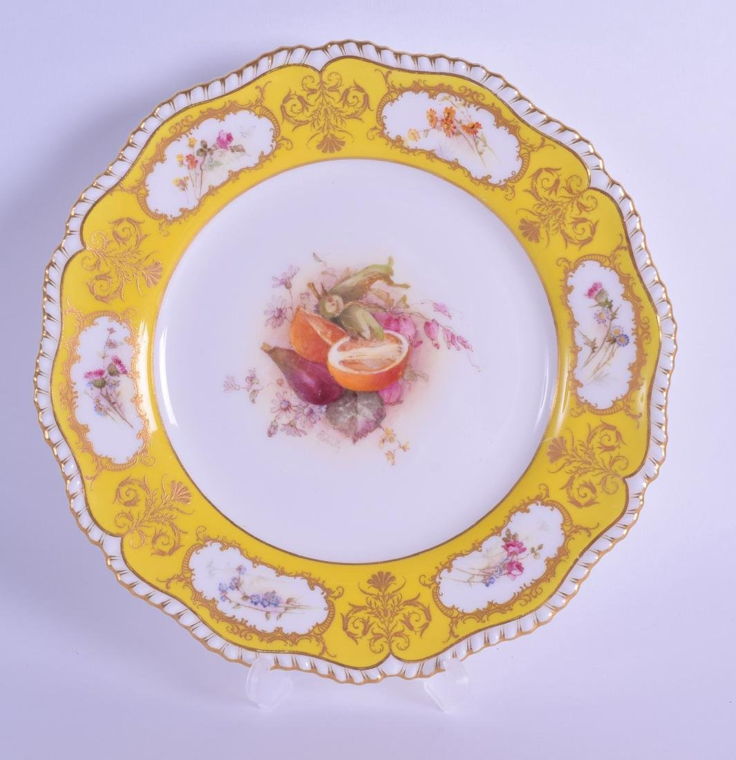 Royal Worcester fine plate painted with fruit including