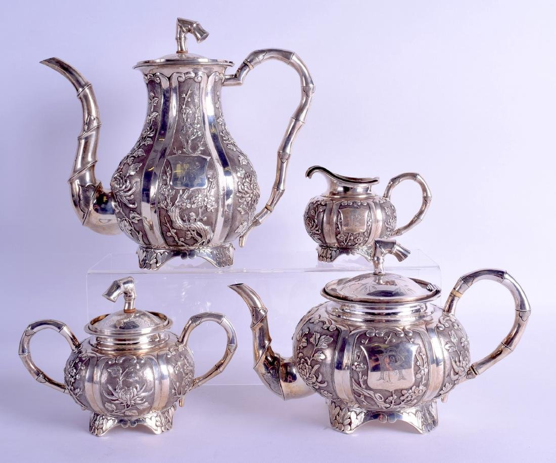 A FINE LATE 19TH CENTURY CHINESE EXPORT SILVER TEA SET