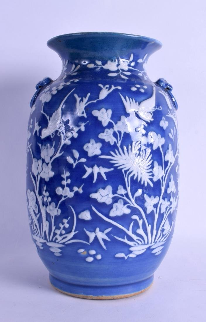 AN 18TH/19TH CENTURY CHINESE BLUE GROUND VASE decorated
