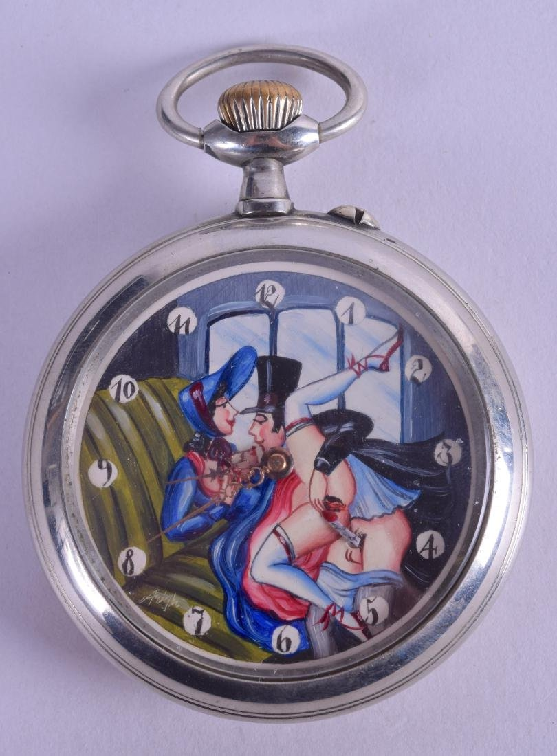 A DOXA 'EROTIC' CHROME POCKET WATCH depicting a male