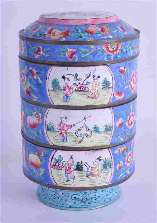 AN EARLY 20TH CENTURY CHINESE CANTON ENAMEL STACKING