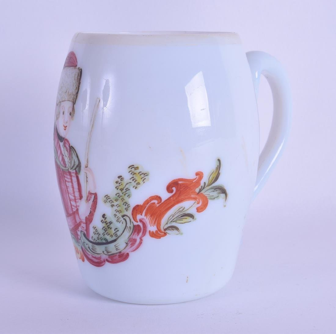 A RARE 18TH CENTURY BOHEMIAN MILK GLASS MUG painted