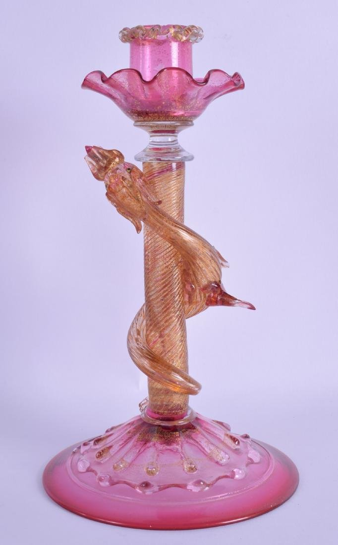 AN UNUSUAL VENETIAN GOLD SPLASH CRANBERRY GLASS